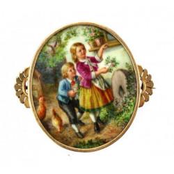 Malovaná porcelánová brož -...