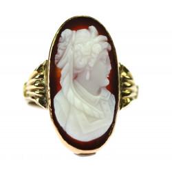 Zlatý prsten s kamejí