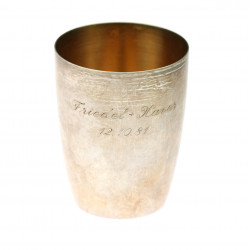Silver cup with dedication