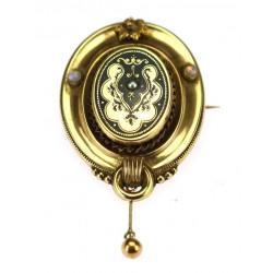 Gold Biedermeier brooch...