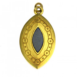 Gold medallion with lapis...
