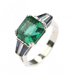 Gold ring with emerald,...