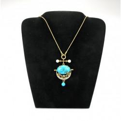 Zlatý koliér s tyrkysem, perlami a brilianty