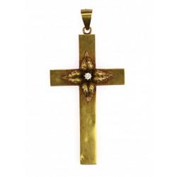 Zlatý kříž s briliantem