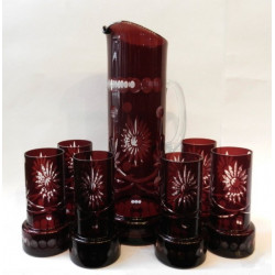 Glass decanter set with six...