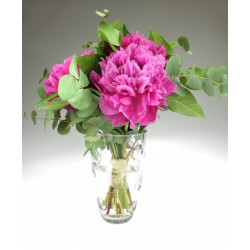 Clear engraved glass vase