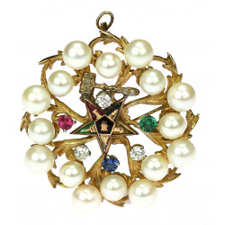 Zednářská brož s perlami a drahokamy