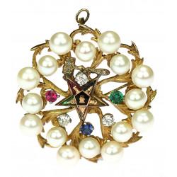 Zlatá brož s perlami a...