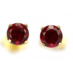 Gold red spinel earrings