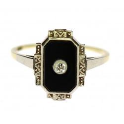 Zlatý prsten s onyxem a...