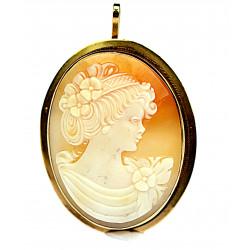 Zlatá brož - přívěsek s kamejí