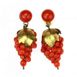 Gold earrings with a sea coral