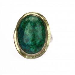 Stříbrný prsten s chryzokolem