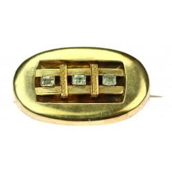 Zlatá brož s akvamaríny