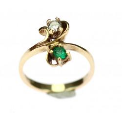 Zlatý prsten se smaragdem a...