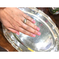 bcaa4b31d Prsten vyrobený v kombinaci bílého a žlutého 14 karátového zlata zdobený  diamanty 8/8 brusu 26 x 0,01 ct.