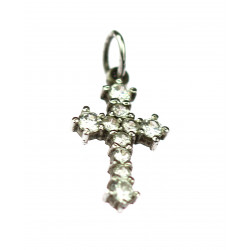 Silver cross with sapphires