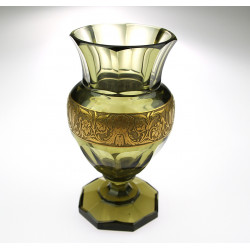 Glass vase with oroplastic
