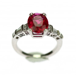 Platinum ring with ruby and...