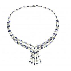 Zlatý náhrdelník se safíry...