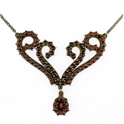 Silver necklace with czech...