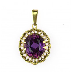 Gold pendant with synthetic...
