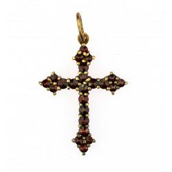 Silver cross with czech garnet