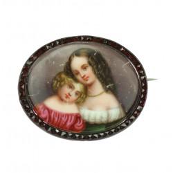 Biedermeier porcelain brooch