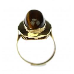 Gold ring wit tiger´s eye