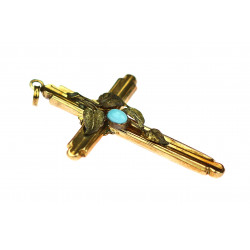Gold cross with turquoise