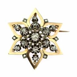 Zlatý přívěsek/brož s diamanty