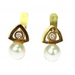 Zlaté náušnice s perlami a...