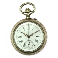 Double cover pocket watch with a stop watch function