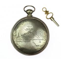 Silver pocket watch -...