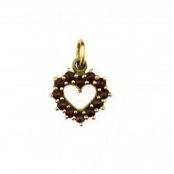 Silver garnet heart