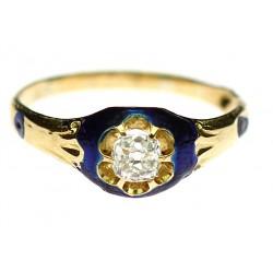 Zlatý prsten s diamantem a...