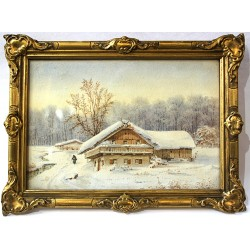 Zimní krajina - akvarel