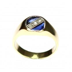 Zlatý prsten se safíry a...