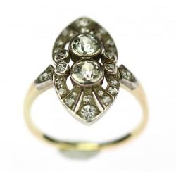 Secesní prsten s diamanty