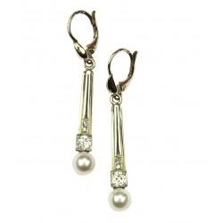Zlaté náušnice  s perlou a...