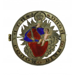 Silver brooch with Madonna