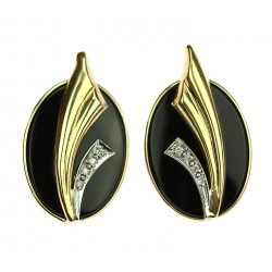 Gold earrings with onyx and...