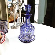 Karafa s víčkem vyrobená z čirého skla přejímaná modrým kobaltem, malovaná a zlacená.  Biedermeier, 1.polovina 19. století . . . . Carafe with lid made of clear glass covered with blue cobalt, painted and gilded. Biedermeier, 1st half of the 19th century  . :  #starozitnesperkyspribehem #biedermeier #prague #jewelry #cinolterantique #vase #antiques #sklo #apple #starozitnosti #artnouveau #instagood #goldsmith #carafe #vanityfairvintage #igerscz #cinolterantiques