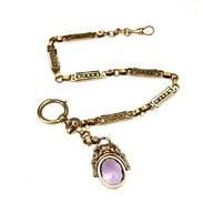 🇨🇿 Zlatý šatlén s ametystem.  . . .  🇬🇧 Pocket watch chain with amethyst. . . . 32 000 Kč / 1231 EUR  . . . . . . . . #starozitnesperkyspribehem #prague #ametyst #šatlen #starozinosti #malickost #praguetourism #oldtownsquare #prahagram #gold #fialova #praguewoman #goldchain