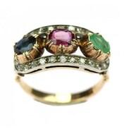 Zlatý prsten z období Rakouska-Uherska z konce 19. století ozdobil klenotník rubínem, safírem, smaragdem a diamanty! .  A gold ring from the period of Austria-Hungary from the end of the 19th century was decorated by a jeweler with a ruby, sapphire, emerald and diamonds! . . . . . 45 000 Kč /  1 800 € . . . #cinolterantiques #maiselova #praha1 #podzimni #prsten #smaragd #diamant #rubín #safír #starozitnesperkyspribehem #dedictvi #starozitnosti #vintage #retro